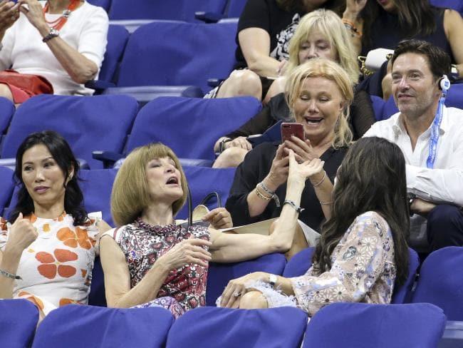 Rupert Murdoch's ex-wife Wendy Deng Murdoch, Anna Wintour, Hugh Jackman and his wife Deborra-lee Furness share a laugh. Picture: Jean Catuffe/GC Images