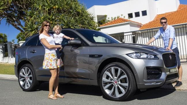Iain Curry and Jules Lucht living the high life in the Jaguar F-Pace. Picture: Supplied.
