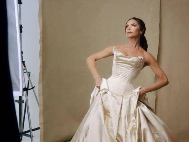Victoria Beckham in her Vivienne Westwood wedding dress. Picture: British Vogue