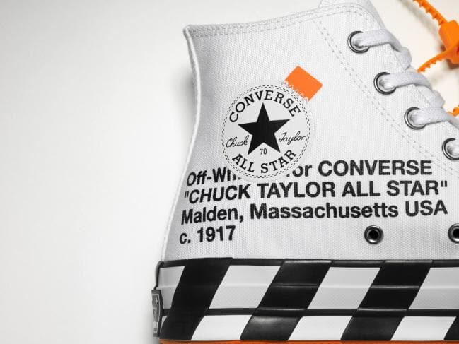 Up close! The shoe features Off-White's signature font. Picture: Converse