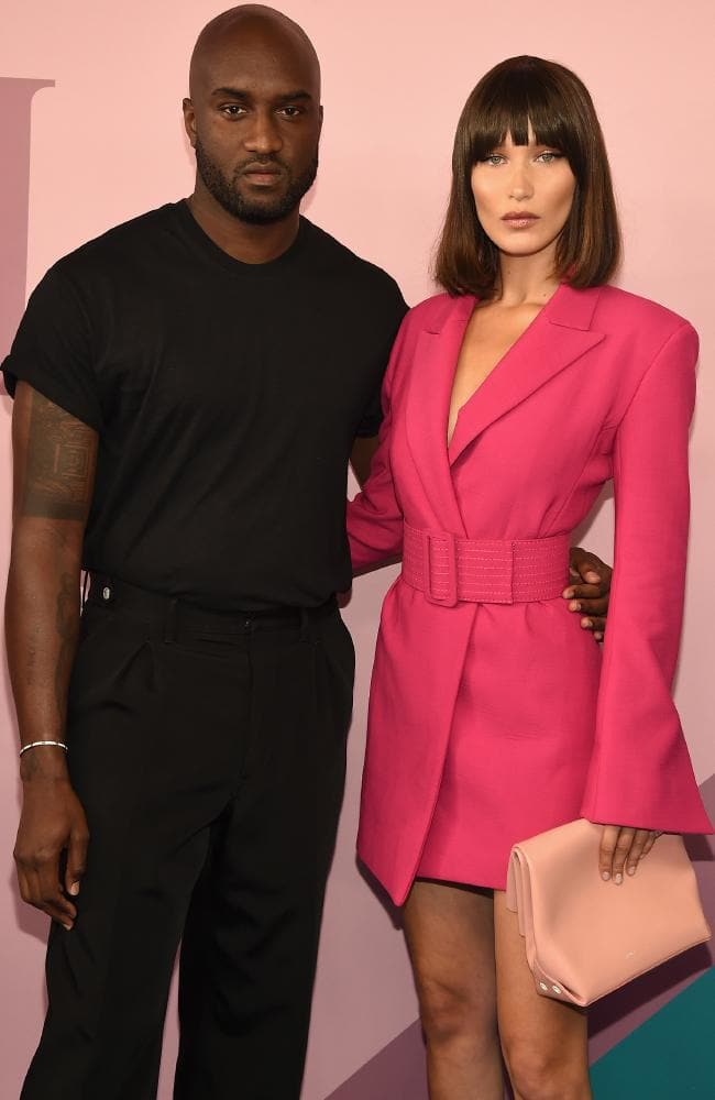 Virgil Abloh, pictured with supermodel Bella Hadid, has designed a new shoe for Converse. Picture: Getty Images
