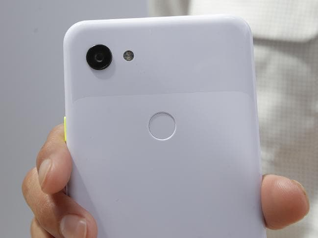 The camera on a Google Pixel 3a XL phone is displayed at the Google I/O conference in Mountain View, Calif. Picture: Jeff Chiu