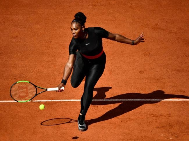 Serena wearing her famous catsuit during the French Open in May. Picture: Christophe Simon/AFP