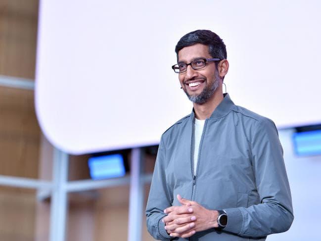 Google CEO Sundar Pichai speaks during the Google I/O 2019 keynote session at Shoreline Amphitheatre in Mountain View, California. Picture: Josh Edelson